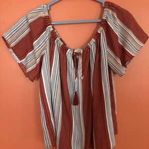 Forever 21 off the shoulder striped blouse